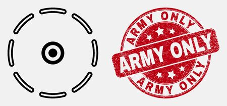 Vector contour round perimeter icon and Army Only seal. Blue rounded distress seal with Army Only title. Black isolated round perimeter icon in contour style.