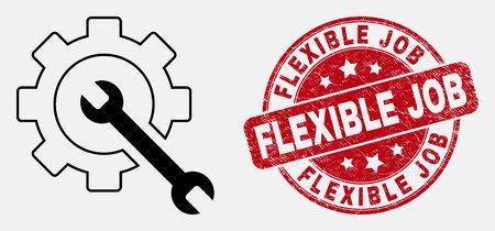 Vector line service tools icon and Flexible Job seal stamp. Blue rounded grunge seal stamp with Flexible Job phrase. Black isolated service tools symbol in linear style.