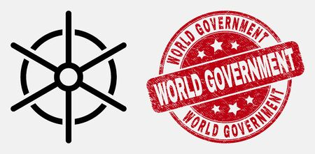 Vector line ship rule wheel pictogram and World Government seal stamp. Blue rounded scratched seal stamp with World Government title. Black isolated ship rule wheel icon in line style.