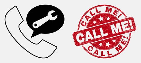 Vector linear phone service message icon and Call Me! stamp. Blue round grunge stamp with Call Me! title. Black isolated phone service message pictogram in linear style.