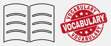 Vector stroke open book pictogram and Vocabulary stamp. Blue round distress seal stamp with Vocabulary phrase. Black isolated open book pictogram in stroke style.