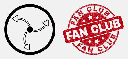 Vector line turbine rotation pictogram and Fan Club seal stamp. Blue round grunge seal stamp with Fan Club caption. Black isolated turbine rotation symbol in contour style. Illusztráció
