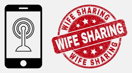 Vector stroke smartphone wifi hotspot pictogram and Wife Sharing stamp. Blue rounded textured stamp with Wife Sharing phrase. Black isolated smartphone wifi hotspot pictogram in stroke style.