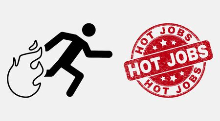 Vector linear person running away from fire pictogram and Hot Jobs seal stamp. Blue round textured seal stamp with Hot Jobs message. Black isolated person running away from fire icon in linear style. Ilustracja
