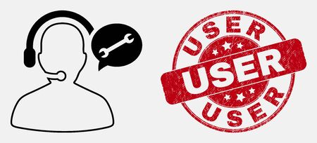 Vector outline service operator message icon and User seal. Blue rounded distress seal stamp with User caption. Black isolated service operator message icon in contour style. Stock Illustratie