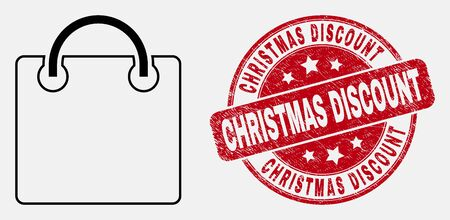 Vector stroke shopping bag icon and Christmas Discount seal stamp. Blue rounded grunge stamp with Christmas Discount phrase. Black isolated shopping bag symbol in stroke style.