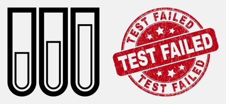 Vector stroke test-tubes pictogram and Test Failed stamp. Blue rounded textured seal stamp with Test Failed title. Black isolated test-tubes pictogram in stroke style.