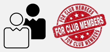 Vector outline users icon and For Club Members seal. Blue round textured seal stamp with For Club Members text. Black isolated users icon in stroke style.