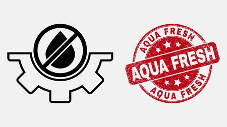 Vector stroke water service pictogram and Aqua Fresh stamp. Blue rounded distress seal stamp with Aqua Fresh phrase. Black isolated water service pictogram in stroke style.