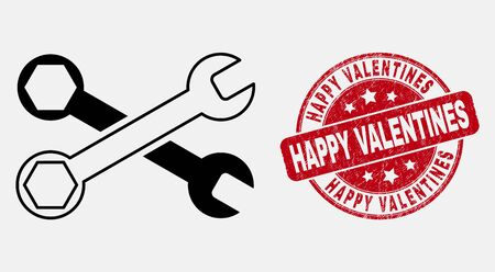 Vector line wrenches pictogram and Happy Valentines seal stamp. Blue rounded distress seal stamp with Happy Valentines phrase. Black isolated wrenches pictogram in stroke style.  イラスト・ベクター素材
