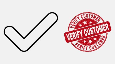Vector linear yes tick pictogram and Verify Customer seal. Blue round textured seal stamp with Verify Customer title. Black isolated yes tick pictogram in stroke style. Illustration