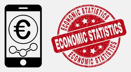 Vector contour mobile euro chart pictogram and Economic Statistics seal stamp. Blue rounded distress seal stamp with Economic Statistics message.