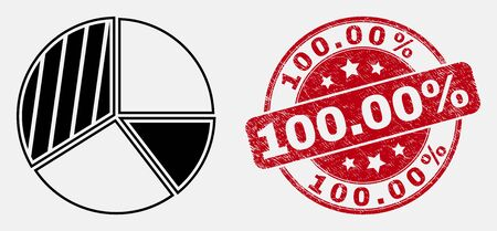 Vector contour pie chart pictogram and 100.00% seal stamp. Blue round scratched seal stamp with 100.00% title. Black isolated pie chart pictogram in stroke style. Иллюстрация
