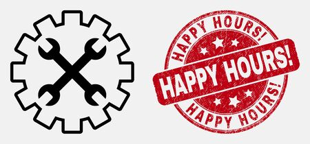 Vector contour tools gear icon and Happy Hours! stamp. Blue rounded distress stamp with Happy Hours! text. Black isolated tools gear icon in line style.