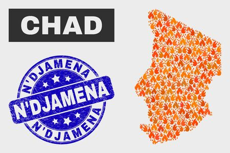 Vector composition of fired Chad map and blue rounded distress NDjamena watermark. Fiery Chad map mosaic of fire items. Vector composition for fire protection services, and NDjamena seal stamp. Illustration