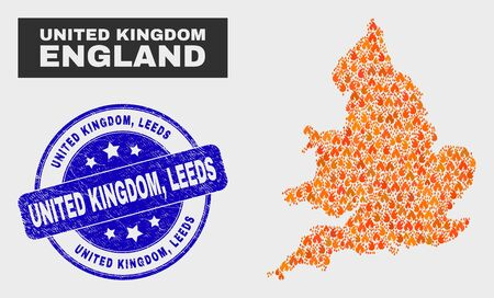 Vector collage of burn England map and blue round textured United Kingdom, Leeds seal stamp. Orange England map mosaic of flame elements. Vector collage for emergency services, and United Kingdom,