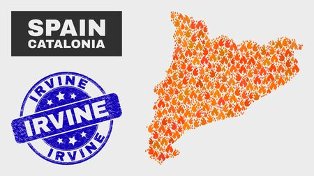 Vector collage of burn Catalonia map and blue round distress Irvine seal. Fiery Catalonia map mosaic of fire items. Vector collage for fire protection services, and Irvine seal stamp. Ilustração