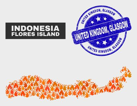 Vector composition of fire Flores Island of Indonesia map and blue rounded distress United Kingdom, Glasgow seal stamp. Fiery Flores Island of Indonesia map mosaic of fire items.
