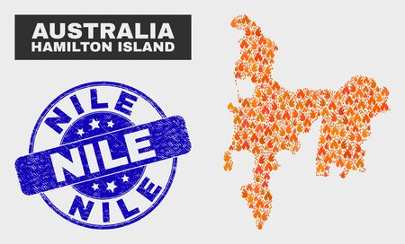 Vector collage of fire Hamilton Island map and blue round scratched Nile seal stamp. Orange Hamilton Island map mosaic of fire icons. Vector collage for safety services, and Nile overlay.