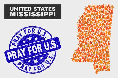 Vector collage of flamed Mississippi State map and blue rounded textured Pray for U.S. stamp. Orange Mississippi State map mosaic of fire elements. Vector collage for insurance services, Archivio Fotografico - 129523039