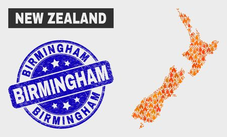 Vector composition of fire New Zealand map and blue rounded scratched Birmingham watermark. Fiery New Zealand map mosaic of fire symbols. Vector collage for fire protection services,