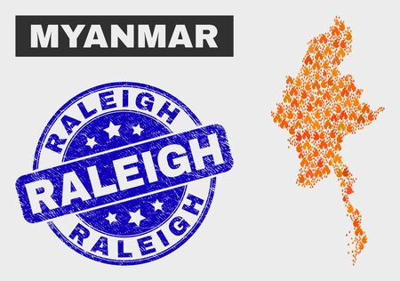 Vector composition of fire Myanmar map and blue round scratched Raleigh seal stamp. Orange Myanmar map mosaic of fire symbols. Vector collage for fire protection services, and Raleigh seal.