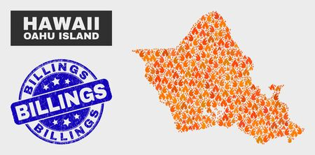 Vector composition of fire Oahu Island map and blue rounded distress Billings seal. Orange Oahu Island map mosaic of fire items. Vector combination for insurance services, and Billings seal stamp. 矢量图像