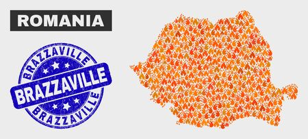 Vector collage of flame Romania map and blue rounded distress Brazzaville watermark. Fiery Romania map mosaic of flame items. Vector collage for fire protection services, and Brazzaville seal.