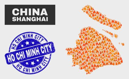 Vector composition of fired Shanghai City map and blue rounded scratched Ho Chi Minh City seal stamp. Fiery Shanghai City map mosaic of fire items. Vector collage for fire protection services, Illustration