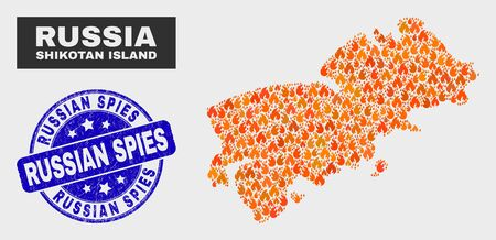 Vector composition of flamed Shikotan Island map and blue rounded grunge Russian Spies seal stamp. Orange Shikotan Island map mosaic of flame items. Vector composition for insurance services,