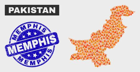 Vector collage of flame Pakistan map and blue rounded grunge Memphis seal stamp. Orange Pakistan map mosaic of flame icons. Vector collage for emergency services, and Memphis watermark. Ilustração