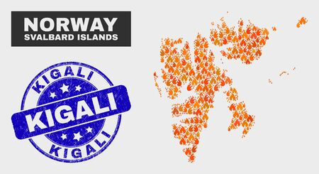 Vector collage of wildfire Svalbard Islands map and blue rounded textured Kigali seal stamp. Orange Svalbard Islands map mosaic of flame icons. Vector collage for fire protection services,