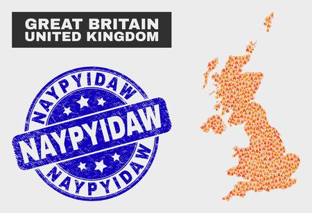 Vector composition of flame United Kingdom map and blue round distress Naypyidaw seal stamp. Fiery United Kingdom map mosaic of fire items. Vector composition for fire protection services,