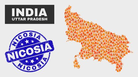 Vector collage of flamed Uttar Pradesh State map and blue rounded distress Nicosia seal. Fiery Uttar Pradesh State map mosaic of fire items. Vector collage for insurance services, and Nicosia seal.