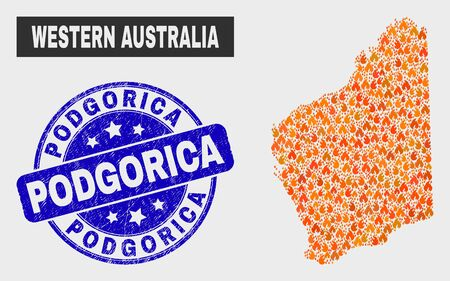 Vector collage of fire Western Australia map and blue rounded textured Podgorica seal. Orange Western Australia map mosaic of fire elements. Vector composition for emergency services,