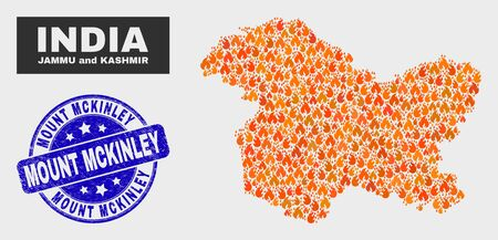 Vector collage of flame Jammu and Kashmir State map and blue rounded textured Mount Mckinley seal stamp. Orange Jammu and Kashmir State map mosaic of fire icons. Vector collage for emergency services, Illusztráció