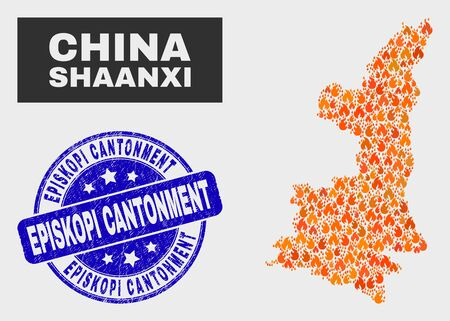Vector collage of wildfire Shaanxi Province map and blue rounded scratched Episkopi Cantonment seal stamp. Fiery Shaanxi Province map mosaic of fire symbols. Vector collage for safety services, Illusztráció