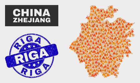 Vector collage of wildfire Zhejiang Province map and blue round distress Riga seal stamp. Fiery Zhejiang Province map mosaic of fire elements. Vector collage for guard services, and Riga seal.