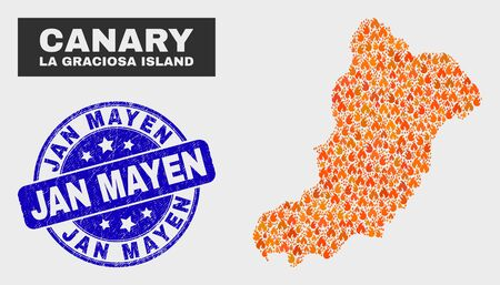 Vector composition of fire La Graciosa Island map and blue round distress Jan Mayen stamp. Orange La Graciosa Island map mosaic of fire icons. Vector composition for fire protection services,