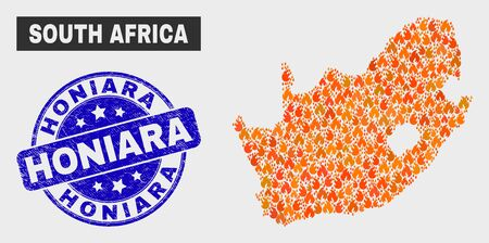 Vector composition of flamed South African Republic map and blue rounded textured Honiara seal. Orange South African Republic map mosaic of fire items. Vector combination for fire protection services, Illusztráció