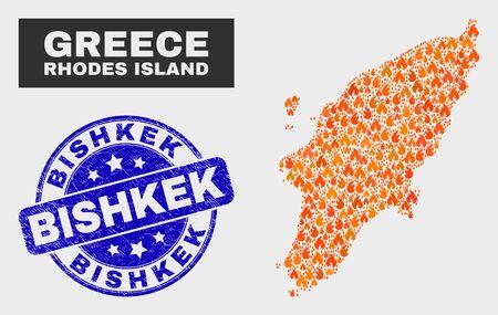 Vector collage of flame Rhodes Island map and blue round distress Bishkek seal. Orange Rhodes Island map mosaic of flame items. Vector collage for safety services, and Bishkek overlay.