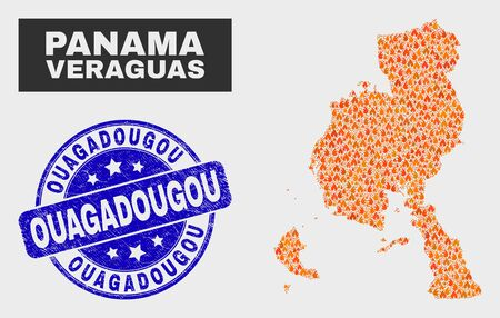 Vector composition of fire Veraguas Province map and blue round distress Ouagadougou seal stamp. Fiery Veraguas Province map mosaic of fire items. Vector collage for fire protection services,