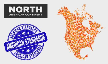 Vector composition of burn North America v2 map and blue round distress American Standards seal. Fiery North America v2 map mosaic of wildfire elements. Vector composition for safety services,