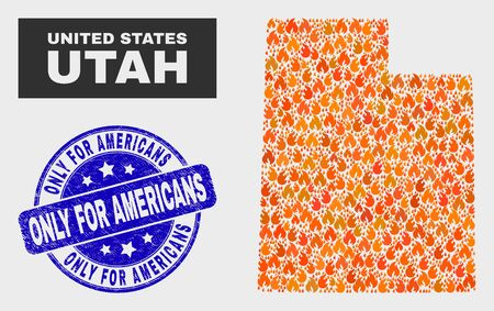 Vector collage of fire Utah State map and blue rounded textured Only for Americans watermark. Orange Utah State map mosaic of flame icons. Vector collage for fire protection services,