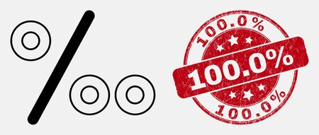 Vector linear per mille icon and 100.0% seal. Blue round scratched watermark with 100.0% phrase. Black isolated per mille icon in linear style. Иллюстрация
