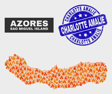 Vector composition of fire Sao Miguel Island map and blue rounded scratched Charlotte Amalie seal. Orange Sao Miguel Island map mosaic of flame elements. Vector composition for safety services, Illusztráció