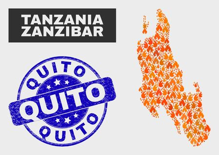 Vector collage of fire Zanzibar Island map and blue rounded scratched Quito watermark. Fiery Zanzibar Island map mosaic of fire items. Vector combination for fire protection services,