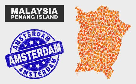 Vector collage of fire Penang Island map and blue round textured Amsterdam seal. Fiery Penang Island map mosaic of flame icons. Vector collage for emergency services, and Amsterdam seal stamp. Stock fotó - 129670184
