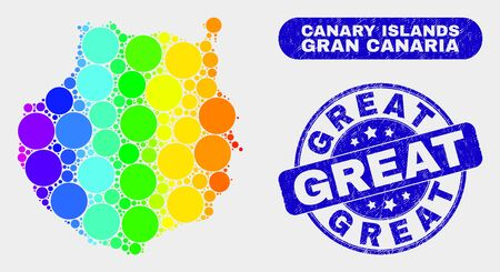 Spectrum dot Gran Canaria map and seal stamps. Blue round Great scratched watermark. Gradient spectrum Gran Canaria map mosaic of scattered round spots. Great watermark with scratched texture. 向量圖像