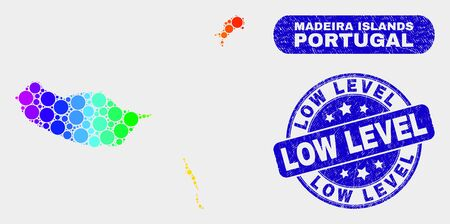 Rainbow colored spotted Madeira Islands map and seal stamps. Blue rounded Low Level distress stamp. Gradient spectrum Madeira Islands map mosaic of random circle dots.